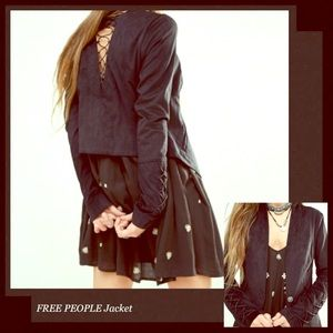 FREE PEOPLE Faux Suede Bare Back Lace Up Jacket